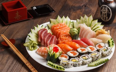 sushi, rolls, Japanese food, fish dishes, salmon, Sashimi, California sushi, Nigirizushi, Nori