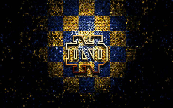 Download Wallpapers Notre Dame Fighting Irish Glitter Logo Ncaa Blue Yellow Checkered Background Usa American Football Team Notre Dame Fighting Irish Logo Mosaic Art American Football America For Desktop Free Pictures For