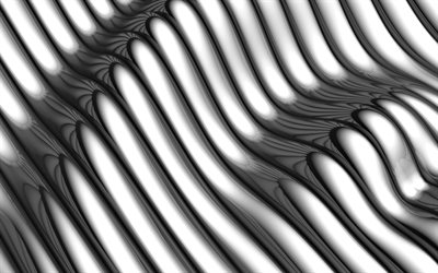 3D metal waves, geometric patterns, wavy backgrounds, 3D waves, white 3D background, 3D waves textures, background with waves, waves texture