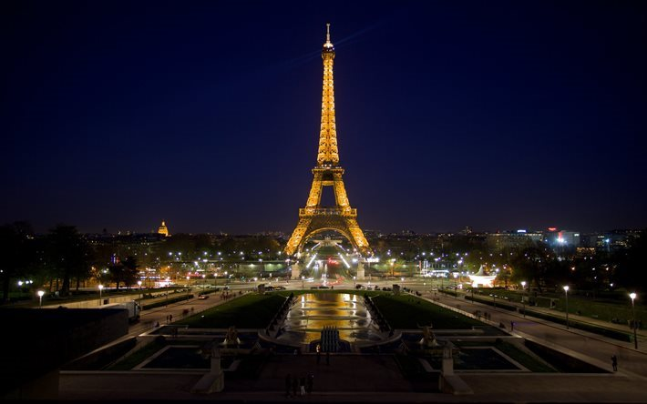 Eiffel Tower, Paris, Champs-Elysees, evening, Paris landmarks