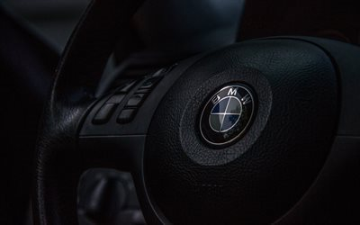 steering wheel, BMW, BMW badge, emblem