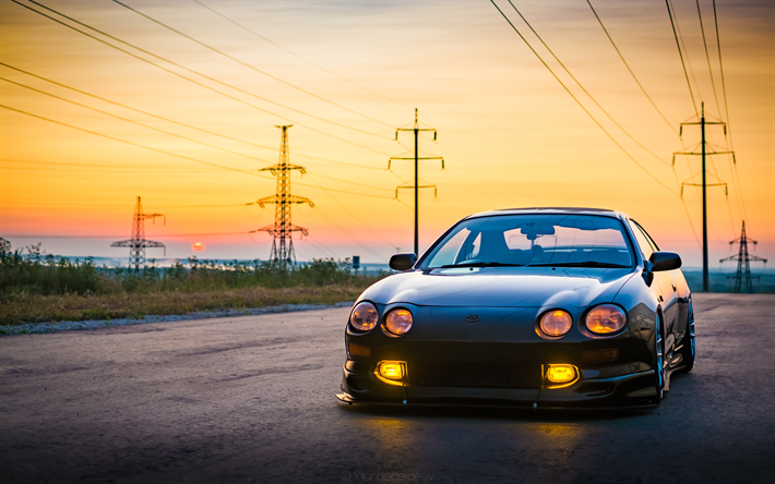 4k, Toyota Celica, Stance, Tuning, Sunset, Japanese Cars, Toyota