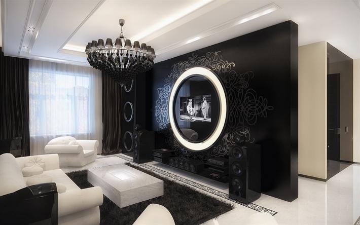 Hämta bilder hall, mörk inredning, svart och vitt, modern design ...