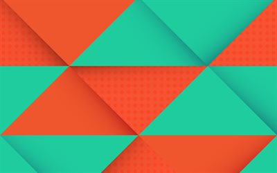 orange green rhombuses, multicolored abstraction, geometric background, material design, android
