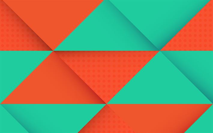 Download Wallpapers Orange Green Rhombuses Multicolored