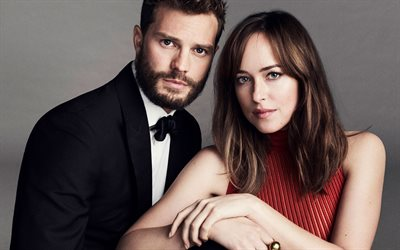 Fifty Shades of Grey, Jamie Dornan, Dakota Johnson, American actors, couple