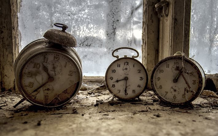 old clock, alarm clock, web, window sill