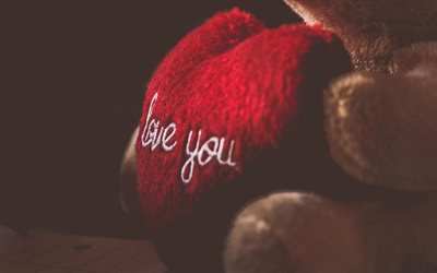 Amore, cuore rosso, teddy bear