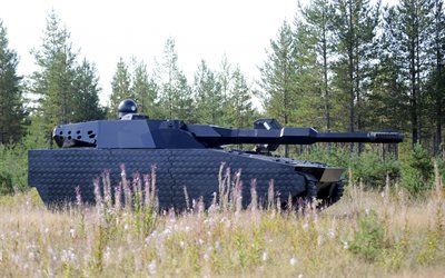 Polish battle tank, PL-01, stealth tank, forest, modern weapon, Poland