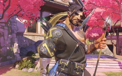 Hanzo, 4K, art, Overwatch