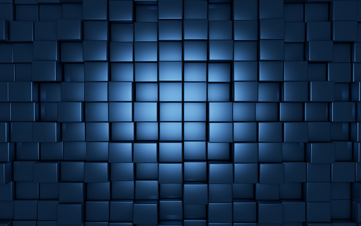 3d blue cubes, geometric background, 3d blue background, cubes