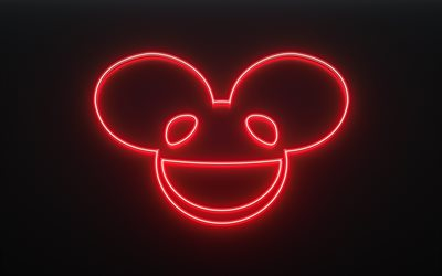 Deadmau5, Joel Thomas Zimmerman, Canadian DJ, red neon logo, neon sign, EDM