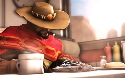 4k, Mccree, cafe, Overwatch characters, cowbay, guns, Overwatch