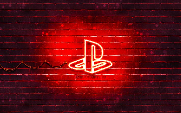 Download Wallpapers Playstation Red Logo 4k Red Brickwall Playstation Logo Brands Playstation Neon Logo Playstation For Desktop Free Pictures For Desktop Free
