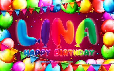 Happy Birthday Lina, 4k, colorful balloon frame, Lina name, purple background, Lina Happy Birthday, Lina Birthday, popular german female names, Birthday concept, Lina
