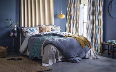 stylish interior, bedroom, modern interior design, bedroom in blue, japanese style interior