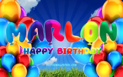 Marlon Happy Birthday, 4k, cloudy sky background, popular german male names, Birthday Party, colorful ballons, Marlon name, Happy Birthday Marlon, Birthday concept, Marlon Birthday, Marlon