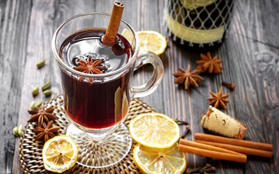 4k, Mulled Wine Cocktail, cinnamon sticks, glass with drink, cocktails, Mulled Wine, Glass with Mulled Wine