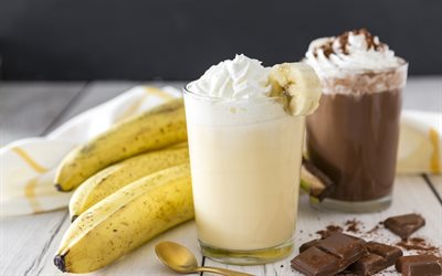 banana smoothie, chocolate smoothie, banana milkshake, chocolate drinks, bananas