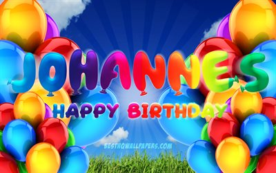 Johannes Happy Birthday, 4k, cloudy sky background, popular german male names, Birthday Party, colorful ballons, Johannes name, Happy Birthday Johannes, Birthday concept, Johannes Birthday, Johannes