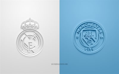 Real Madrid vs Manchester City FC, UEFA Champions League, 3D logos, promotional materials, white-blue background, Champions League, football match, Real Madrid, Manchester City FC