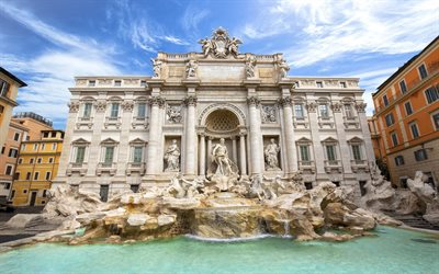 Fontana di Trevi, Rome, Vatican, baroque style, landmark, beautiful fountain, Italy