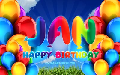 Jan Happy Birthday, 4k, cloudy sky background, popular german male names, Birthday Party, colorful ballons, Jan name, Happy Birthday Jan, Birthday concept, Jan Birthday, Jan