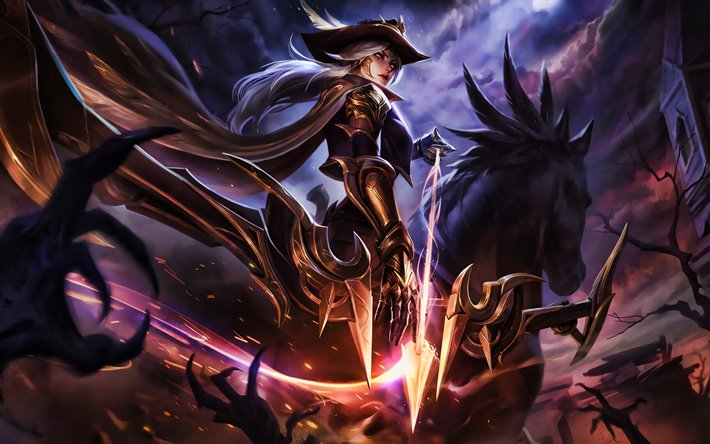 Ashe, horse, MOBA, warrior, League of Legends, darkness, Ashe League of Legends