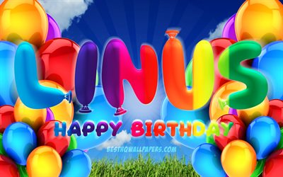 Linus Happy Birthday, 4k, cloudy sky background, popular german male names, Birthday Party, colorful ballons, Linus name, Happy Birthday Linus, Birthday concept, Linus Birthday, Linus