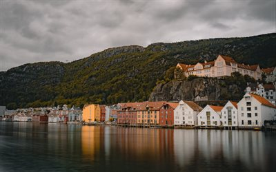 Bergen, evening, sunset, home, fjord, Bergen cityscape, Hordaland, Norway