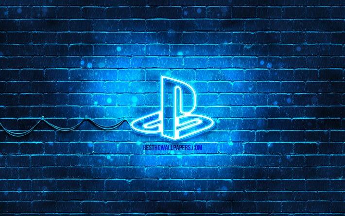 Download Wallpapers Playstation Blue Logo 4k Blue Brickwall Playstation Logo Brands Playstation Neon Logo Playstation For Desktop Free Pictures For Desktop Free