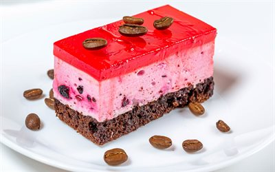 berry cake, cheesecake, dessert, cakes, cake with berries, red jelly