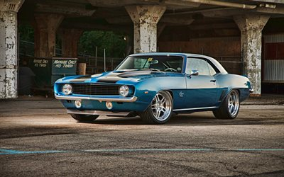 Chevrolet Camaro SS, muscle cars, 1969 cars, tuning, retro cars, blue Camaro, Customized Chevrolet Camaro, american cars, Chevrolet