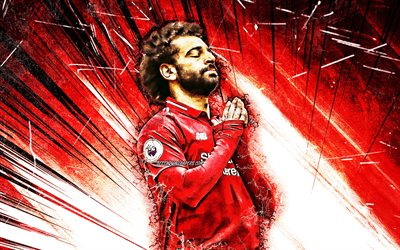 Mohamed Salah, goal, Liverpool FC, egyptian footballers, personal celebration, LFC, red abstract rays, Salah, Premier League, grunge art, soccer, Mohamed Salah art, Salah Liverpool, Mo Salah