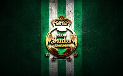 santos laguna-fc golden logo, liga mx, green metal background, football, club santos laguna mexican football club santos laguna logo, soccer, mexico