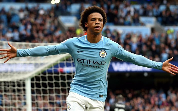 Download Wallpapers Leroy Sane, Footballers, Manchester