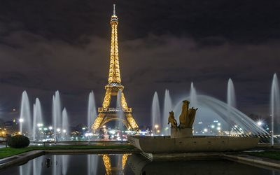 Paris, Eiffel Tower, night, fountains of Paris, night lights, attractions of Paris, France