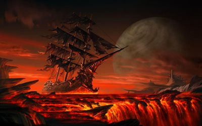 pirates, fiery river, pirate ship, waterfall, moon