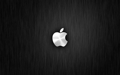 Apple, 4k, metal arka plan, Apple logosu, yaratıcı