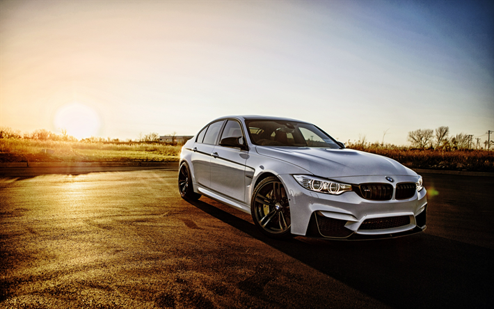 Download wallpapers BMW M3, 2017, F80, German cars, white ...