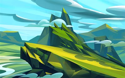 mountains, clouds, low poly art, 3d art, low poly landscape