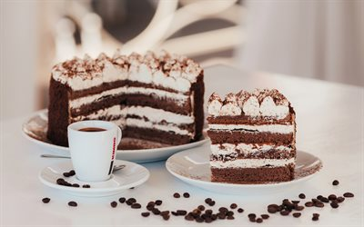 tiramisu, cake, sweets, cup of coffee, pastries, cream