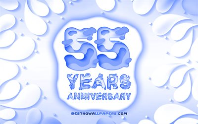 55th anniversary, 4k, 3D petals frame, anniversary concepts, blue background, 3D letters, 55th anniversary sign, artwork, 55 Years Anniversary