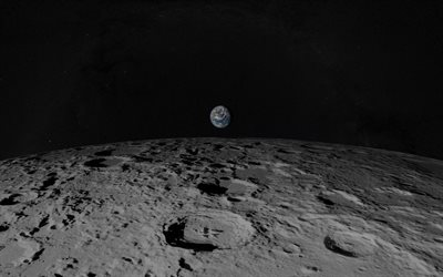 View of the Earth from the moon, outer space, moon surface, Earth, starry sky