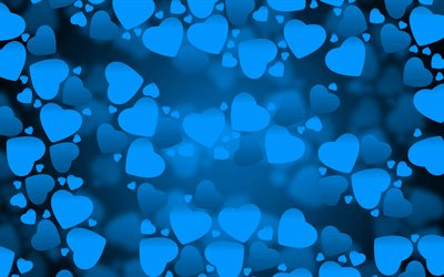 4k, blue hearts, blue love background, creative, love concepts, abstract hearts, blue hearts pattern