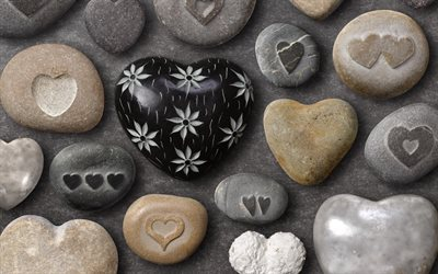 Heart shaped stone, black stone heart, pebbles, stones with hearts, stone romantic background