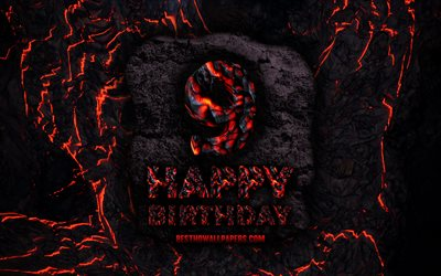 4k, Happy 9 Years Birthday, fire lava letters, Happy 9th birthday, grunge background, 9th Birthday Party, Grunge Happy 9th birthday, Birthday concept, Birthday Party, 9th Birthday