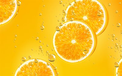 oranges in water, 4k, fruits, oranges underwater, tropical fruits, oranges, fruits underwater