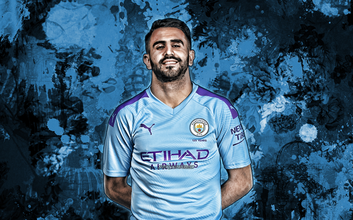 Download Wallpapers Riyad Mahrez, Blue Paint Splashes