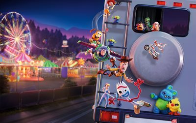 4k, Toy Story 4, characters cast, poster, 2019 movie, 3D-animation, 2019 Toy Story 4